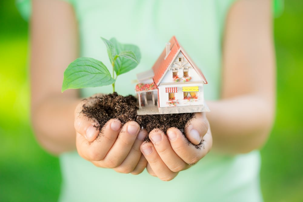 Child holding house and tree in hands against spring green background
